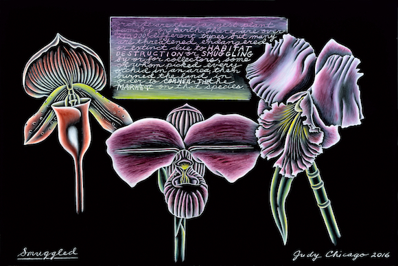 Judy Chicago, Smuggled, from The End: A Meditation on Death and Extinction, 2016; Kiln-fired glass paint on black glass, 12 x 18 in.; Courtesy of the artist; Salon 94, New York; and Jessica Silverman Gallery, San Francisco; © Judy Chicago/Artists Rights Society (ARS), New York; Photo © Donald Woodman/ARS, NY